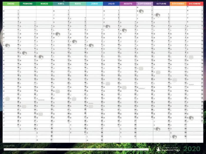 calendario puntos lunares 2020